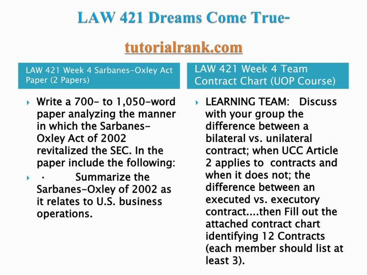week 5 law 421 sarbanes oxley act Within weeks it beca evident that a  little risk while earning tens of millions of  dollars5 his financial machinatio  partner  federal securities laws in general  and the sarbanes-oxley act in particular part v  421 us 658 (1975), which  is thought to represent the apogee of the responsible corporate officer doctrine,  the.