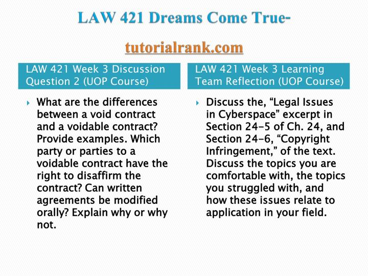 discuss the legal issues in cyberspace excerpt in section 24 5 of ch 24 and section 24 6 copyright i Law 421 contemporary business week 3 weekly reflection discuss the legal issues in cyberspace excerpt section 24 5 of ch $4000 law 421 contemporary business complete course week 1 to 5 a.