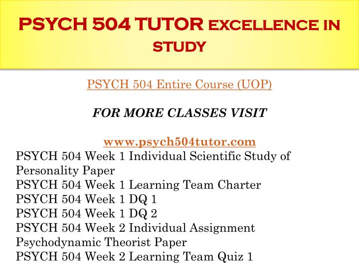 psych 504 Psych 504 week 6 individual personality development paper psych 504 week 6 individual personality development paper prepare a 1,750- to 2,450 word paper in which you examine systemic influences on personality development.