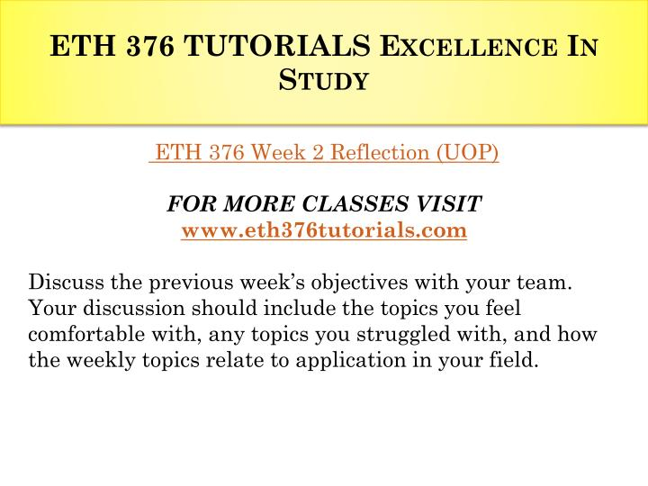 ETH 376 TUTORIALS Excellence In Study