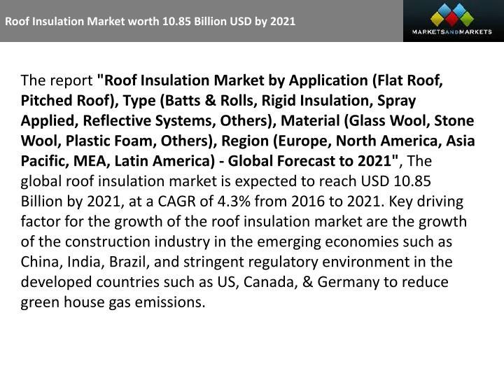 Roof Insulation Market worth 10.85 Billion USD by 2021