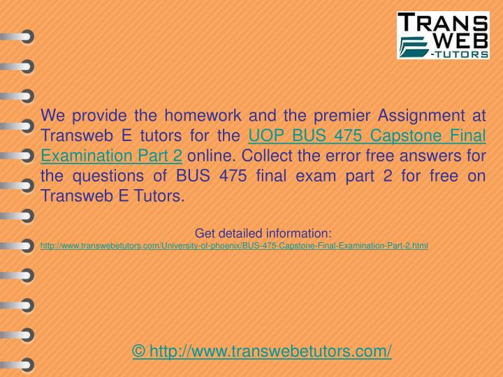 We provide the homework and the premier Assignment at Transweb E tutors for the