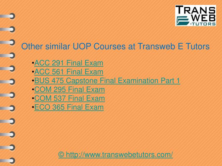 Other similar UOP Courses at Transweb E Tutors
