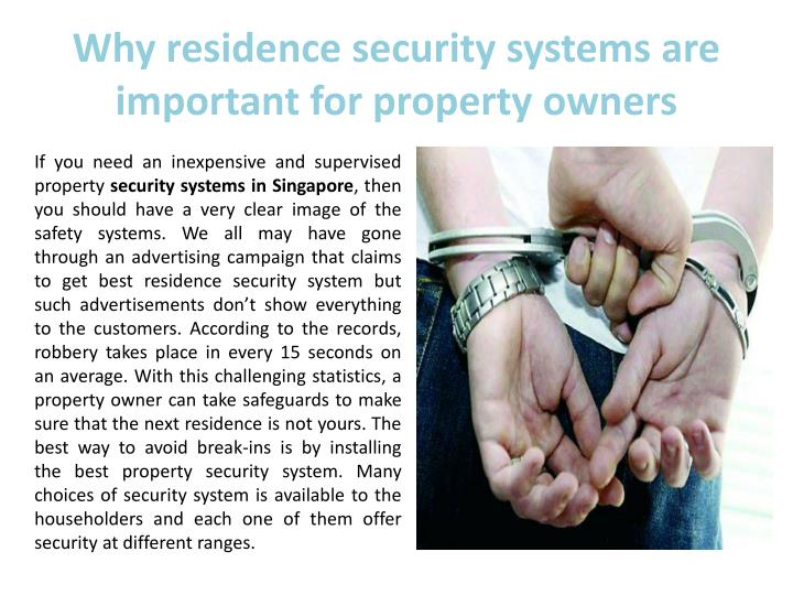 Why residence security systems are important for property owners
