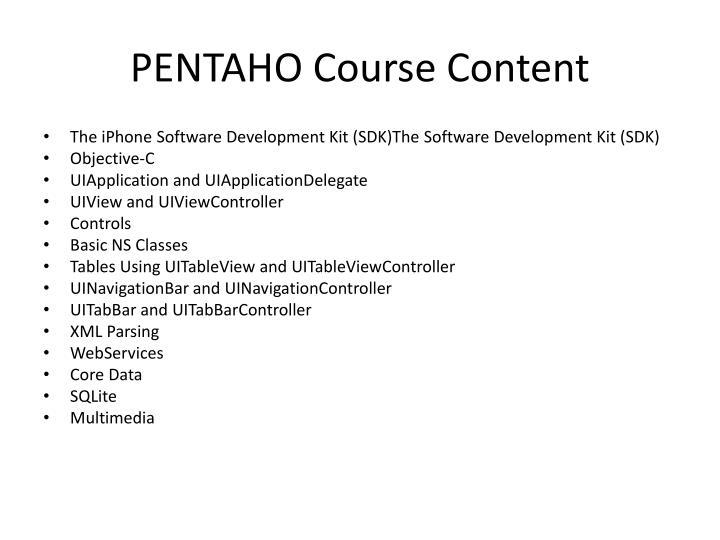 PENTAHO Course Content