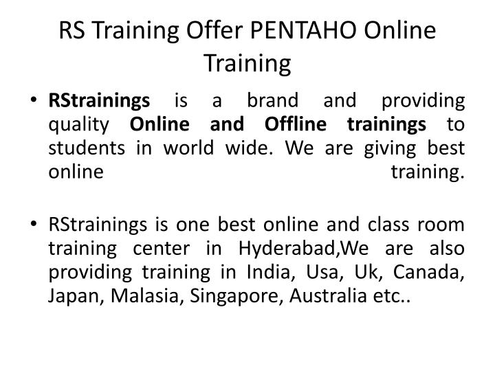 Rs training offer pentaho online training