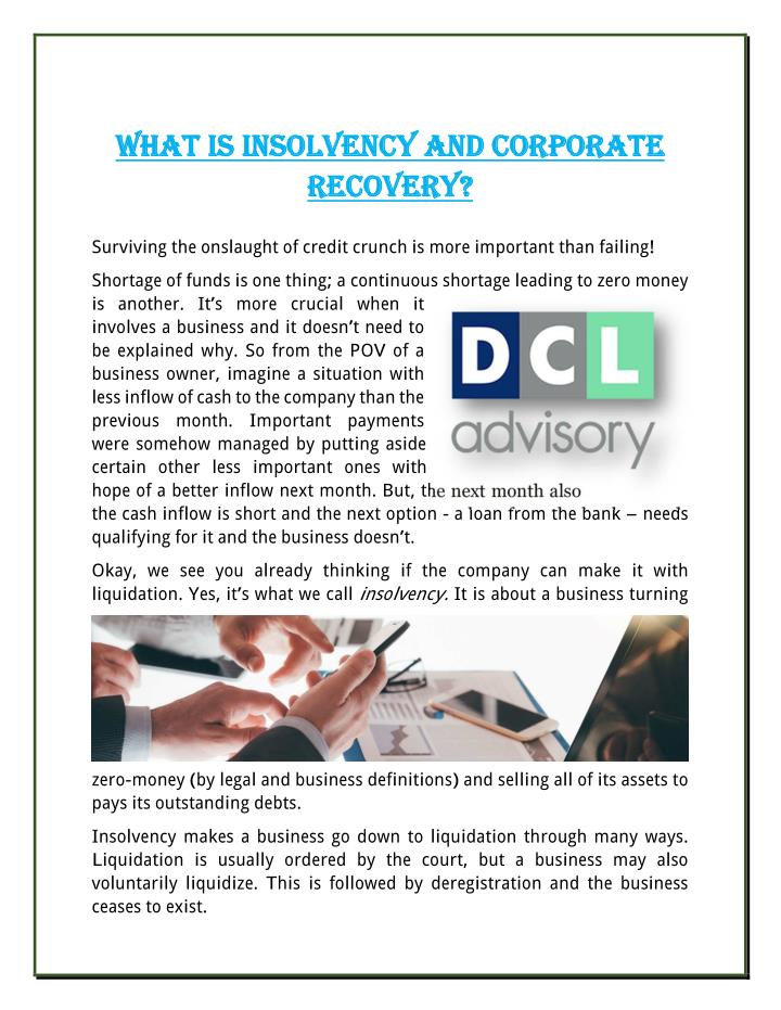 WHAT IS INSOLVENCY AND CORPORATE