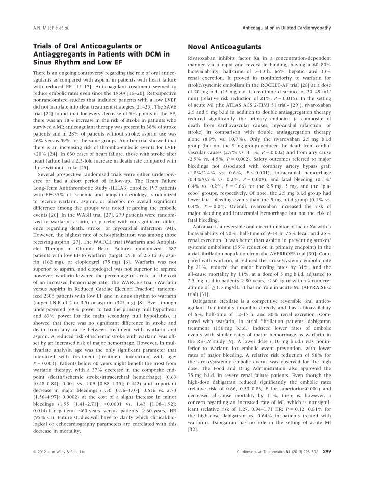 Anticoagulation in Dilated Cardiomyopathy