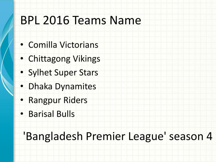 BPL 2016 Teams Name