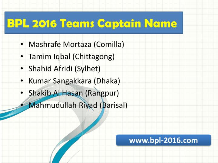 BPL 2016 Teams Captain Name