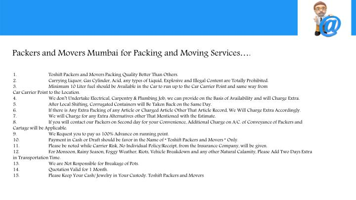 Packers and Movers Mumbai for Packing and Moving Services….