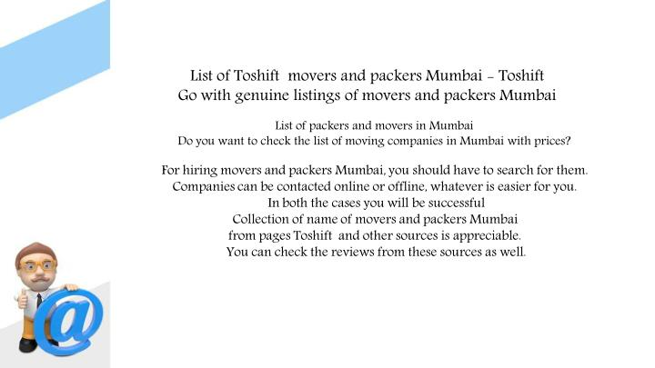 List of Toshift  movers and packers Mumbai - Toshift