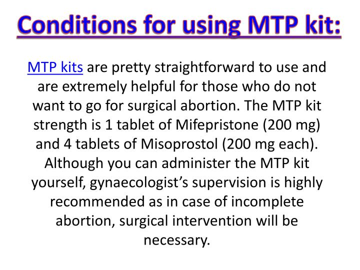 Conditions for using MTP kit:
