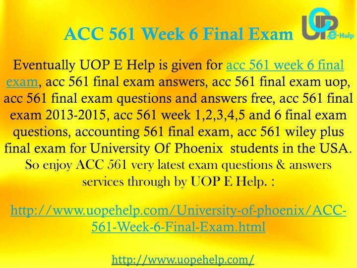 ACC 561 Week 6 Final Exam