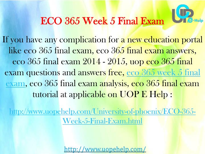ECO 365 Week 5 Final Exam