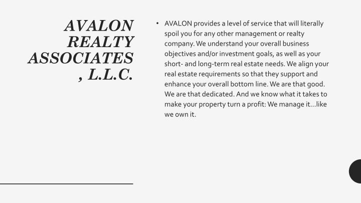 Avalon realty associates l l c