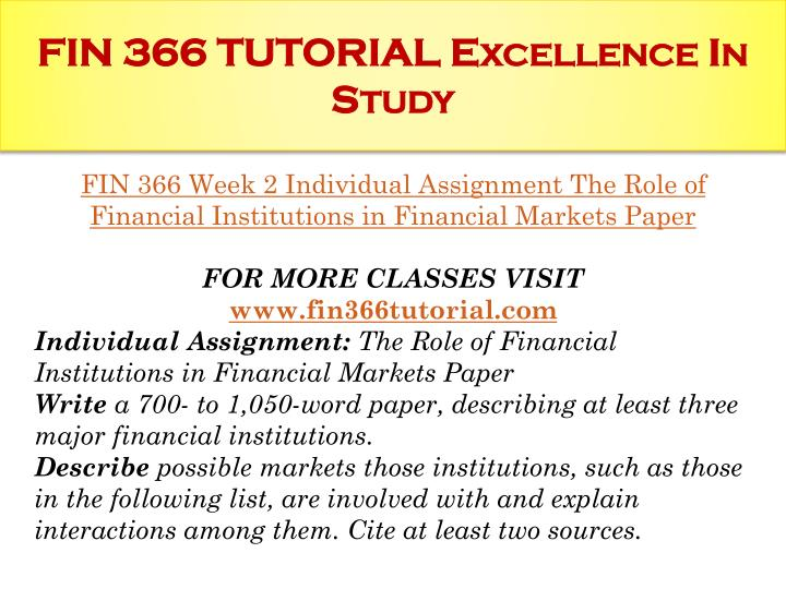 FIN 366 TUTORIAL Excellence In Study