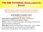 fin 366 tutorial excellence in study8