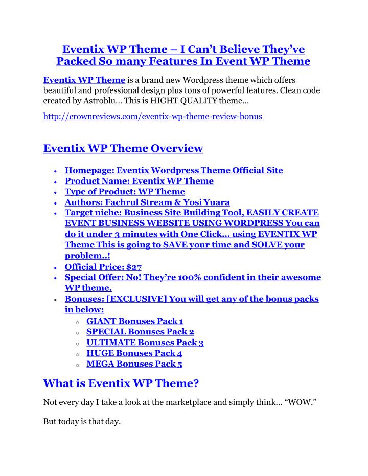 Eventix WP Theme –