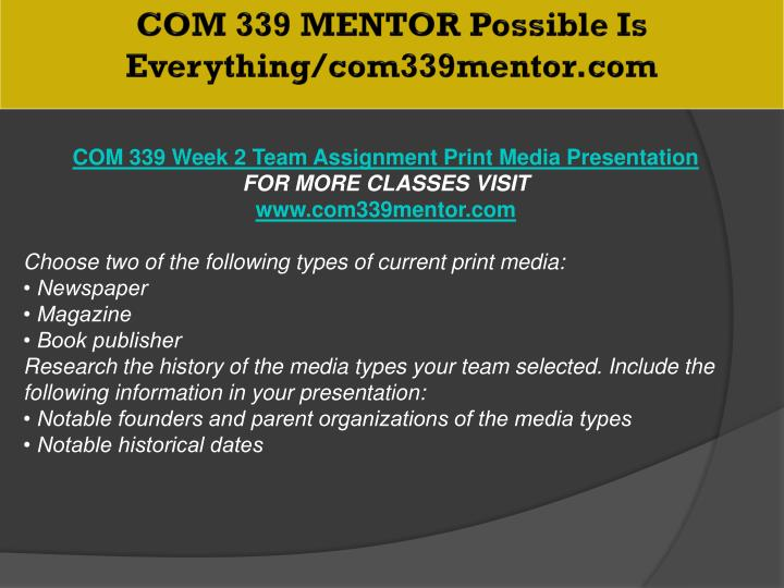 COM 339 MENTOR Possible Is Everything/com339mentor.com