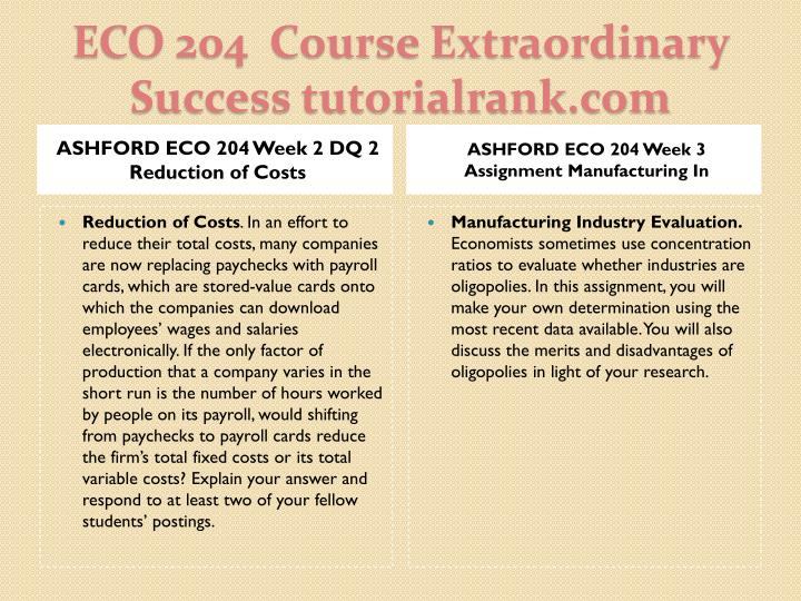ASHFORD ECO 204 Week 2 DQ 2 Reduction of Costs