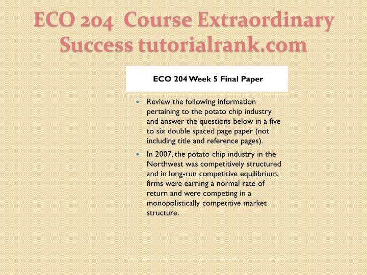 ECO 204 Week 5 Final Paper