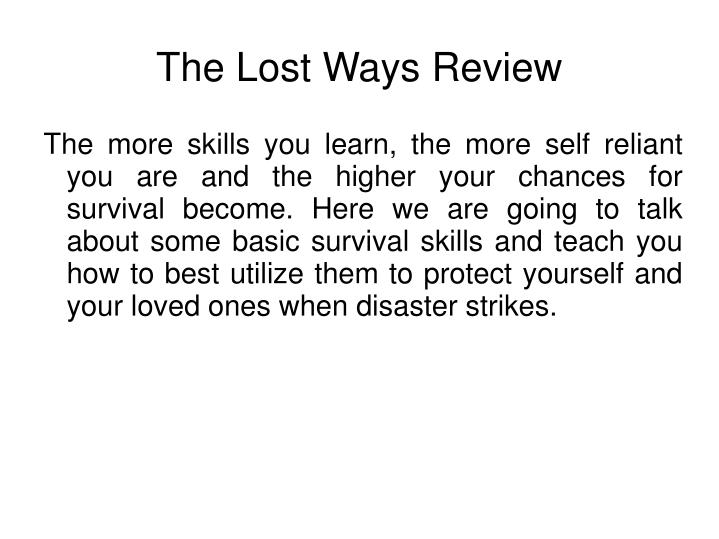 The lost ways review2