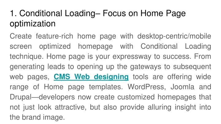 1. Conditional Loading– Focus on Home Page  optimization