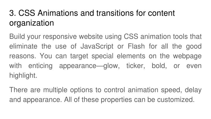 3. CSS Animations and transitions for content organization