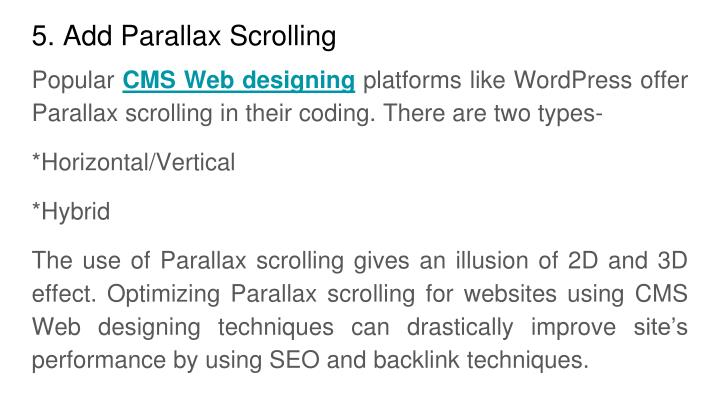 5. Add Parallax Scrolling