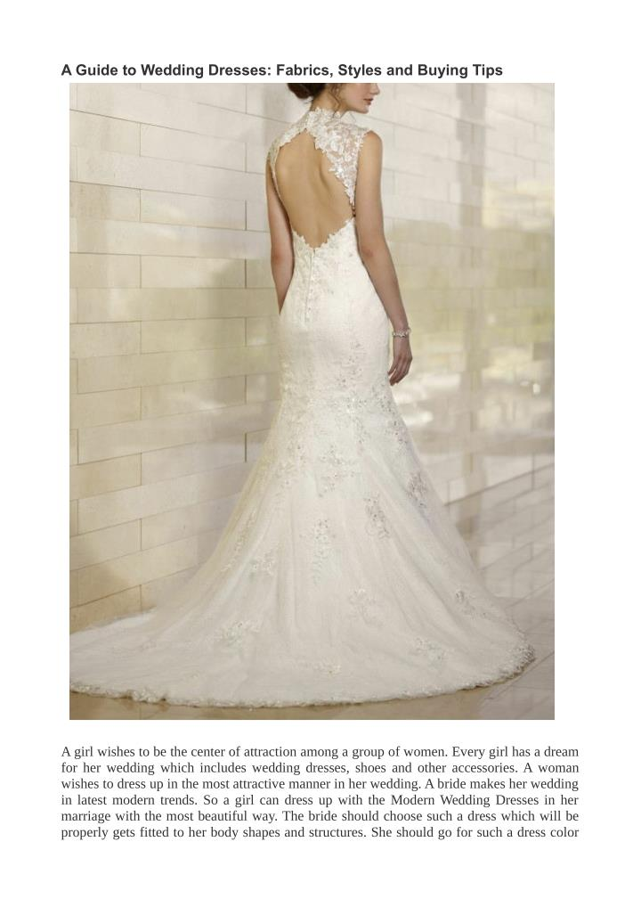Ppt A Guide To Wedding Dresses Fabrics Styles And
