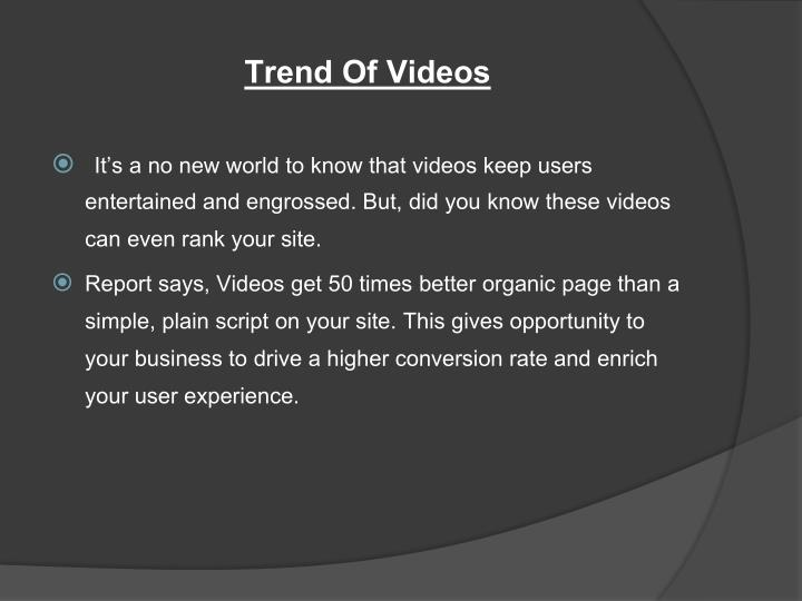 Trend Of Videos