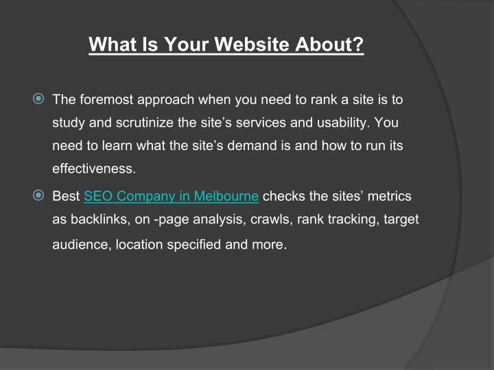 What Is Your Website About?