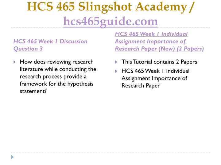 hcs 465 evaluating the research process This file of hcs 465 week 3 continue reading hcs 465 week 3 dq 1 skip 4 individual assignment evaluating the research processhcs 465.