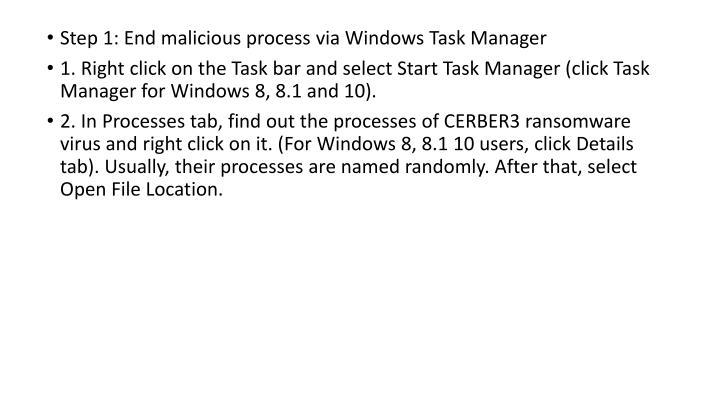 Step 1: End malicious process via Windows Task Manager