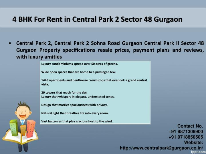 4 BHK For Rent in Central Park 2 Sector 48