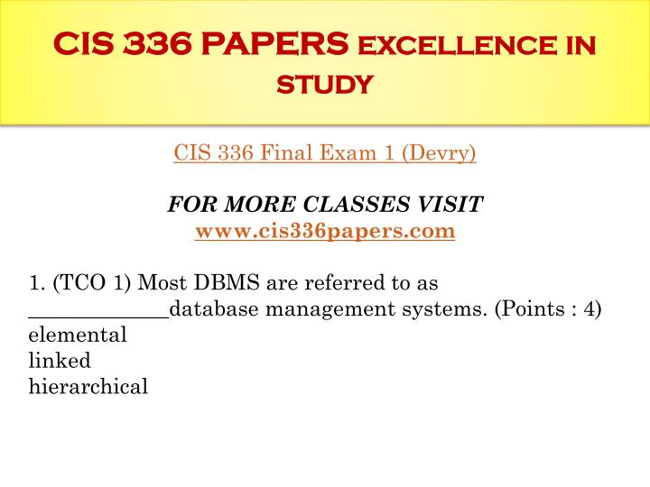 Cis 336 papers excellence in study1