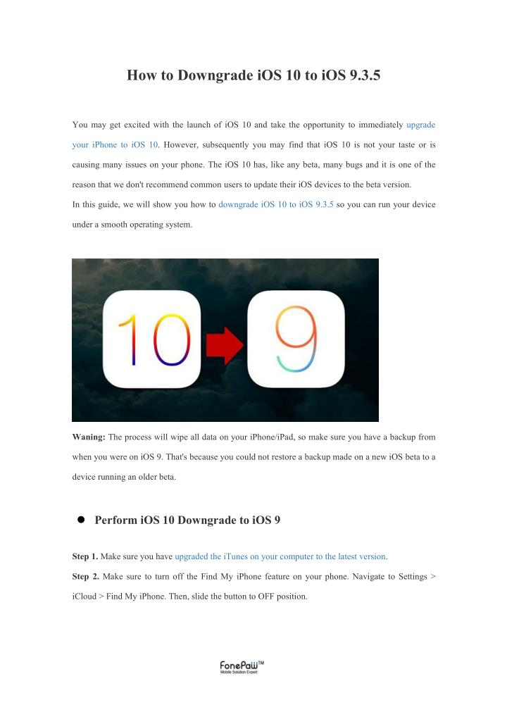 How to Downgrade iOS 10 to iOS 9.3.5