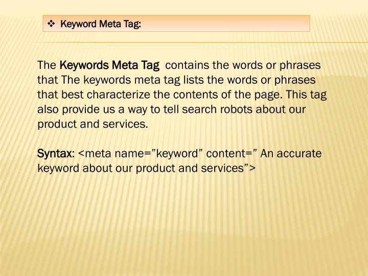 Keyword Meta Tag: