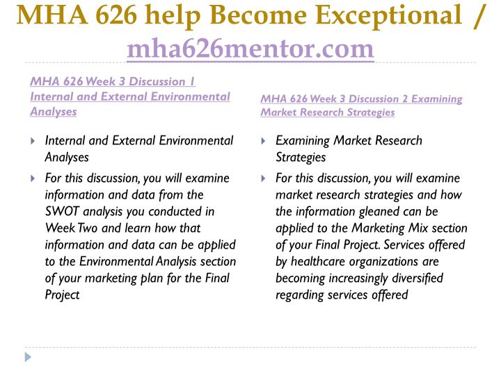 MHA 626 help Become Exceptional  /