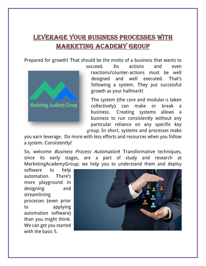 LEVERAGE YOUR BUSINESS PROCESSES WITH