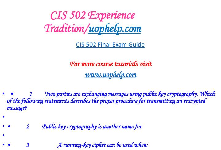Cis 502 experience tradition uophelp com1