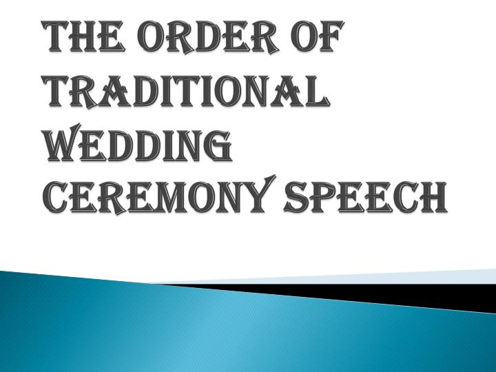 Speeches wedding order