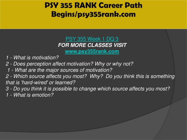 PSY 355 RANK Career Path Begins/psy355rank.com