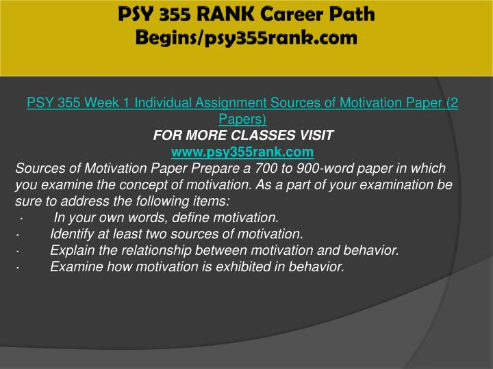 PSY 355 RANK Career Path Begins/psy355rank.com