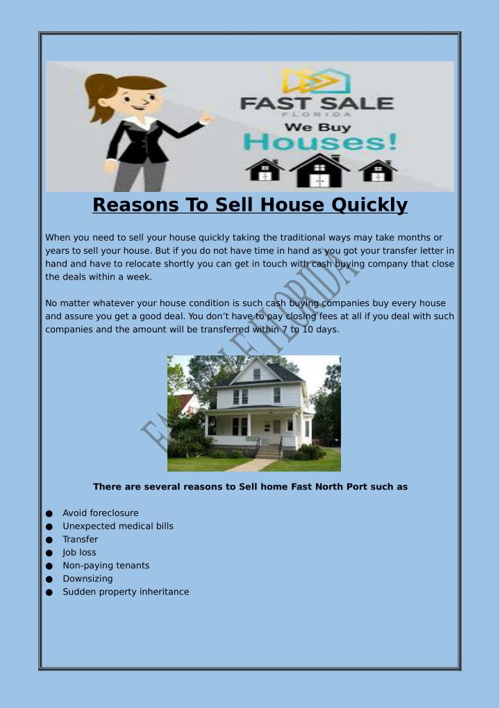 Reasons To Sell House Quickly