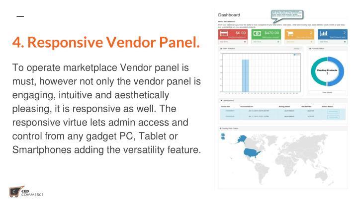 4. Responsive Vendor Panel.
