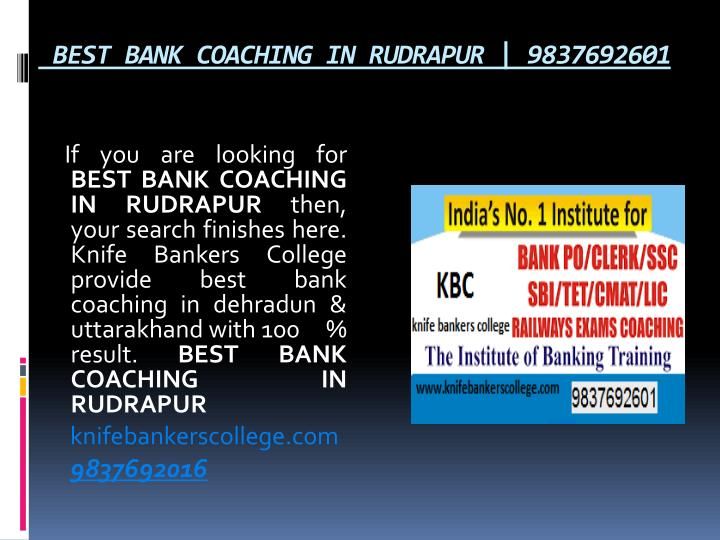 BEST BANK COACHING IN RUDRAPUR