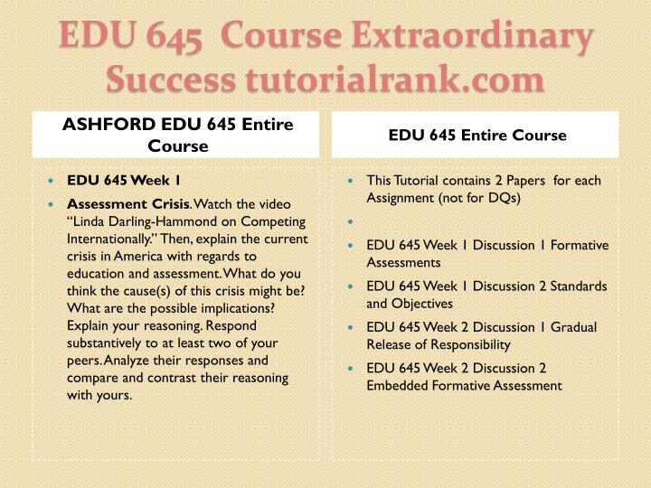 ASHFORD EDU 645 Entire Course