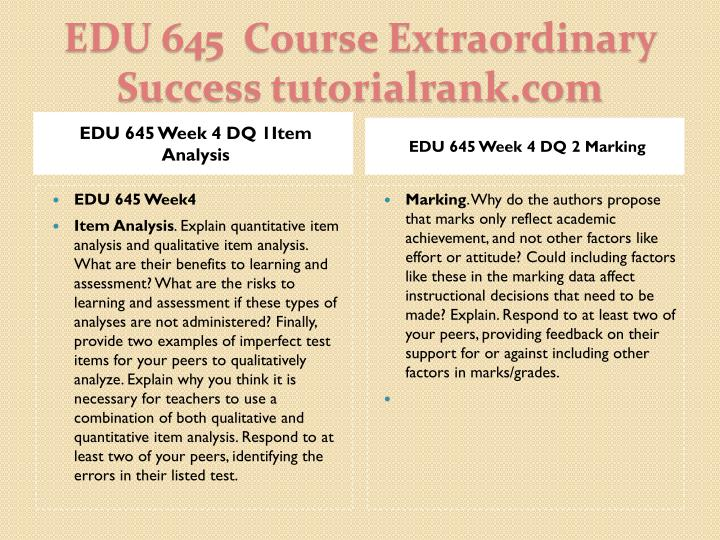 EDU 645 Week 4 DQ 1Item Analysis